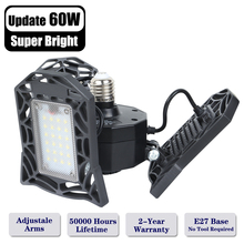 Super Bright E27 60W UFO LED High Bay Light Garage Lamp with 3 Adjustable Panels Industrial Lighting 6000LM for Warehouses