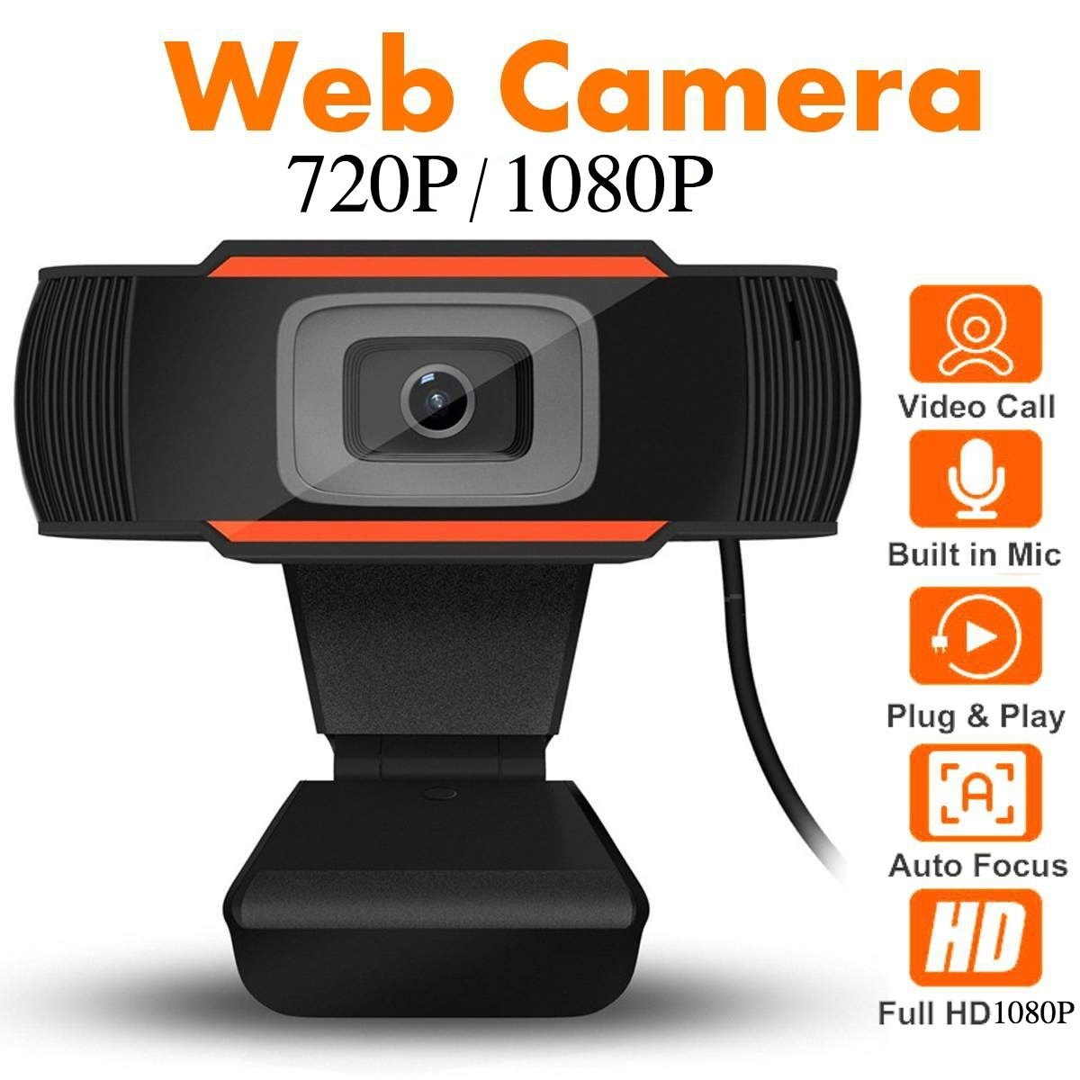 1080P /720P Webcam HD Camera with Built-in HD Microphone 1920 X 1080p USB Video for PC Computer