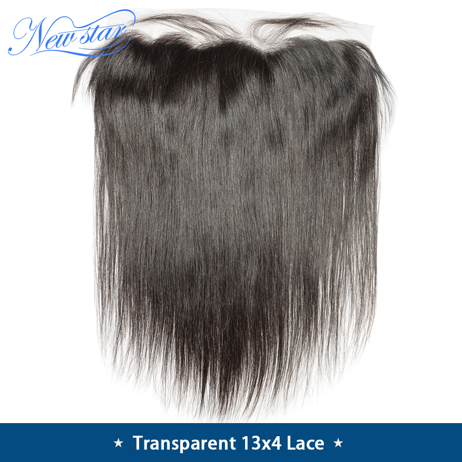 13x4 Closure Star-Hair Frontal Transparent Lace Pre-Plucked Straight Brazilian New