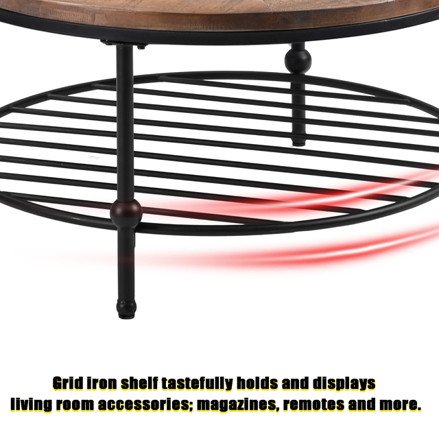 Natural Round Coffee Table with Storage Shelf  6