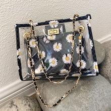 Ansloth Floral Prints Clear Bag Women Bags Chains Jelly Shoulder Bag Lock Crossbody Bag Pvc Transparent Cosmetic Bag HPS894 zipper chains lock crossbody bag