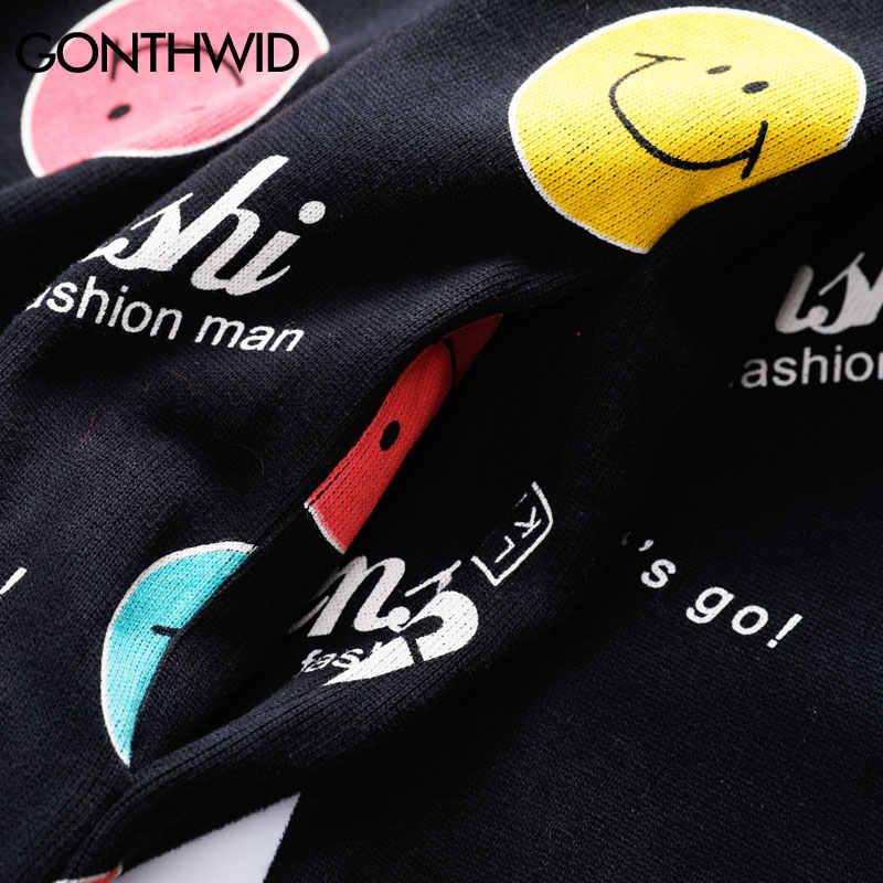 GONTHWID Lächeln Emoji Brief Druck Pullover Sweatshirts Hoodies Männer Hip Hop Harajuku Casual Streetwear Tops Mode Hipster Tops
