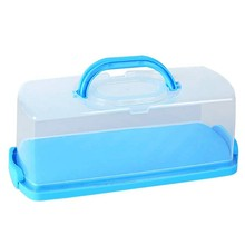 New Portable Bread Box with Handle Loaf Cake Container Plastic Rectangular Food Storage Keeper Carrier 13Inch Translucent Dome f(China)