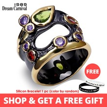 DreamCarnival 1989 Unique Vintage Rings For Women Multi Colors Synthetic Cubic Zirconia Bezel Pierced Black Gold-color Anillos(China)
