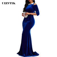 Formal Long Party Dress Women Summer 2019 Plus Size Slim Luxury Autumn Velvet Lace Mermaid Drag Dress Elegant Sexy Maxi Dresses