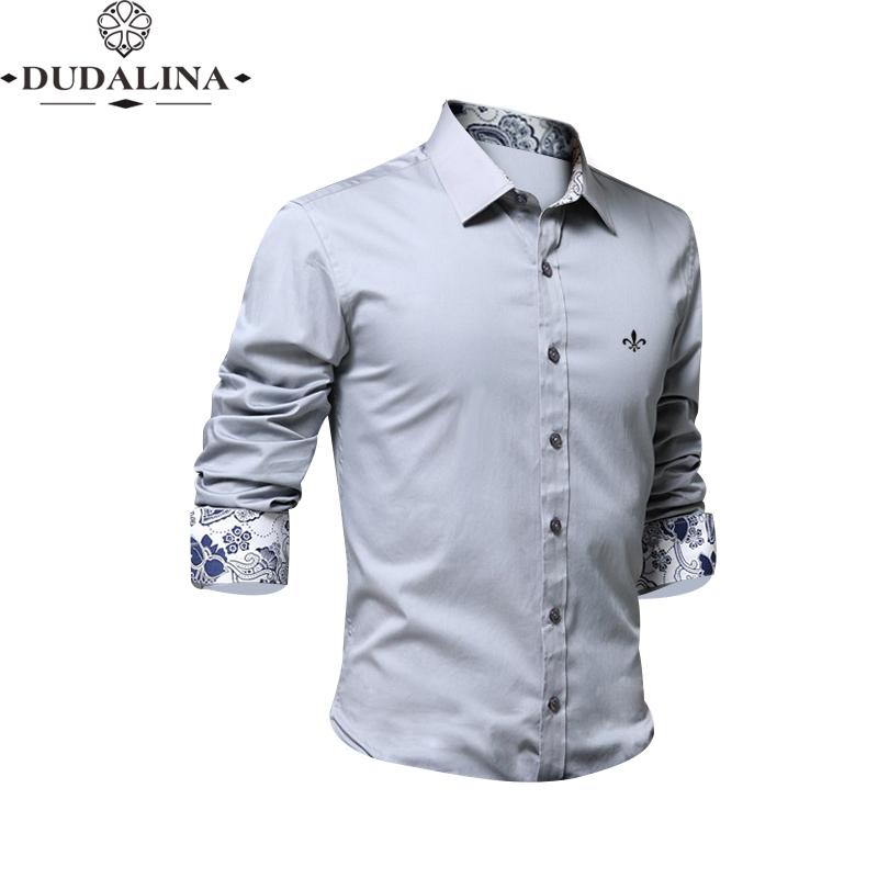 9 Colors Blusa Camisa Social Masculina Dudalina Long Sleeve Slim Fit Shirt Men Floral Clothing White Male Plus Size