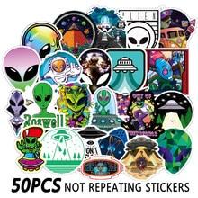 50 Uds espacio ultraterrestre etiqueta OVNI extraterrestre cohete de astronauta de dibujos animados pegatinas regalos de juguetes de peluche para los niños monopatín DIY del coche del ordenador portátil del teléfono F4