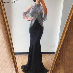 Image 2 - Serene Hill czarna syrenka Sexy Jersey suknie wieczorowe suknie 2020 luksusowe koralikowe frędzelki eleganckie dla kobiet Party LA70346