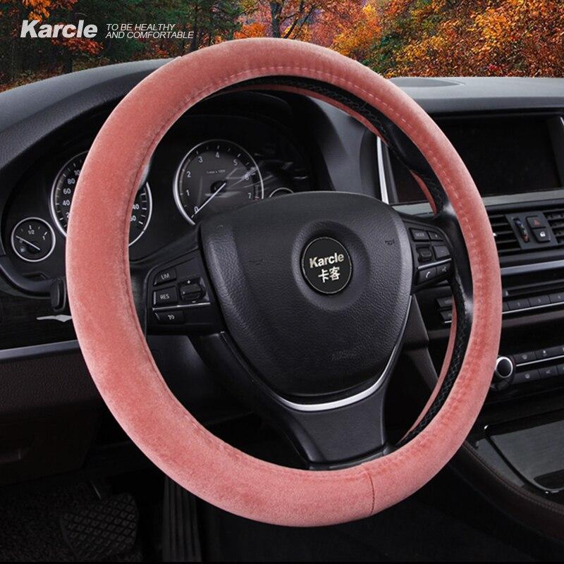 Karcle 38cm Car Steering Wheel Cover Velvet Steering Cover Soft Short Plush Steering Wheel Protector Auto Car Styling