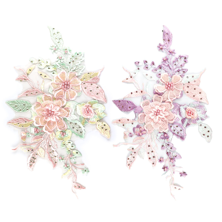 2019 Fashion High Quality Handmade Flower Wedding Dress Patches 3D Flower Applique
