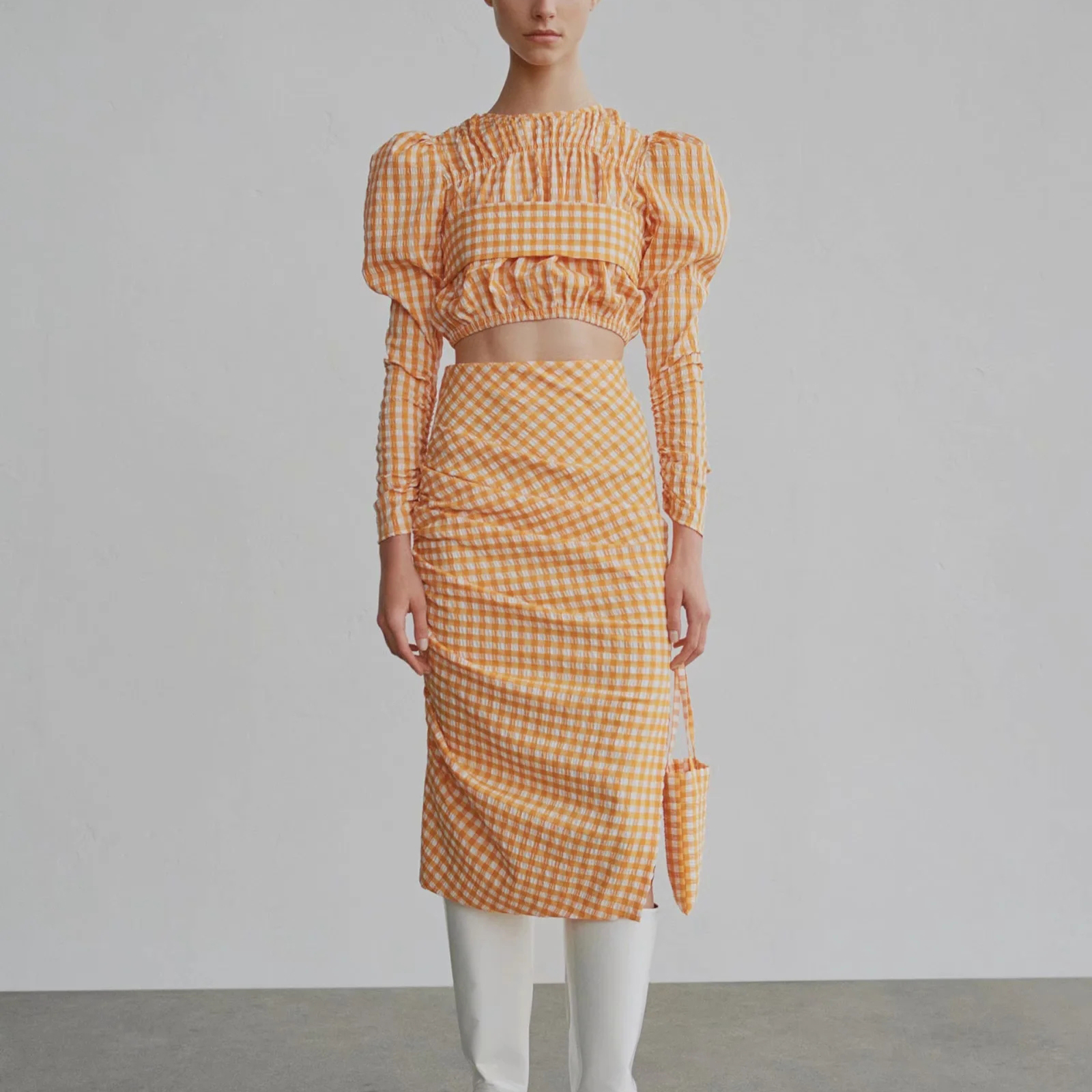 ZA New Suits Women Two Piece Set Orange Plaid Printed Shirt&pleated Skirt High Waist Female Woman Clothes