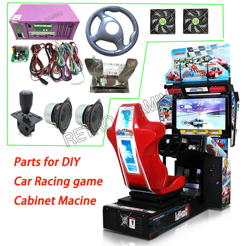 Outrun Car Racing Driving Arcade Game Kit With Motherboard, Wires, Steering Wheel, Gear Stick, Accelerator And Brake For DIY