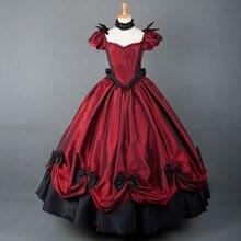 Хэллоуин бальное платье длинное платье в викторианском стиле kawaii Девушка Готическая Лолита op винтажный буф рукав бант сладкий Лолита платье loli cos