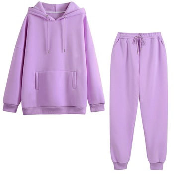 Autumn Hoodies Women Two Piece Set Solid Fleece Oversized Tracksuits Winter Thick Warm Hooded Sweatshirt Jogger Pants Suit 1