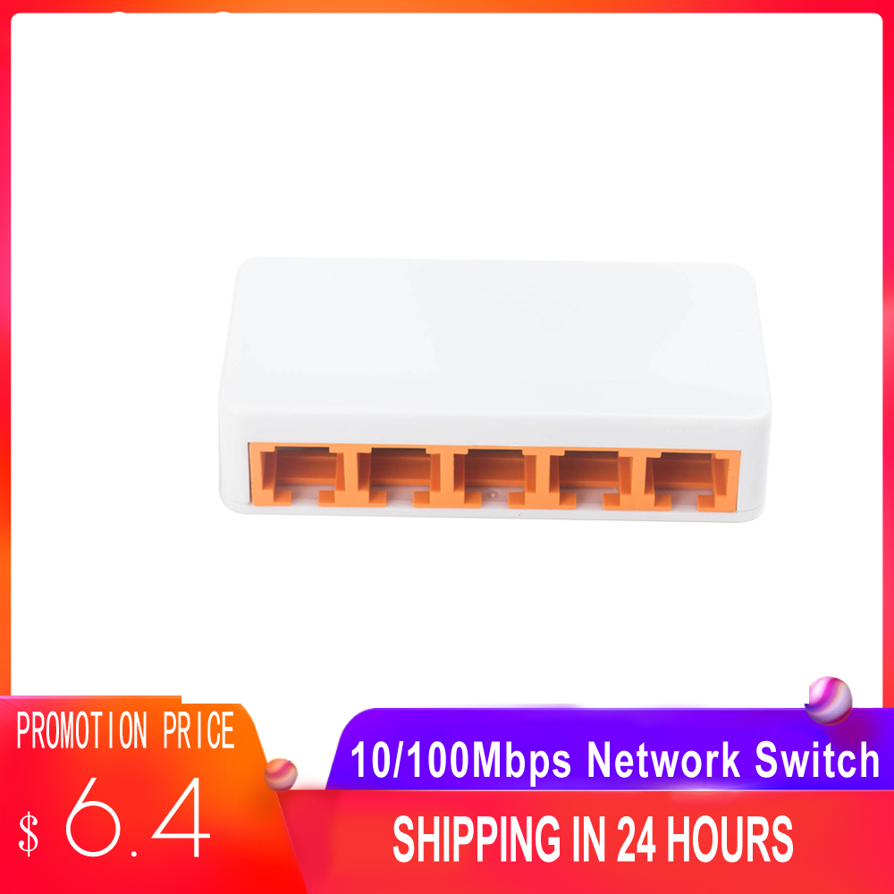 5 Ports Fast Ethernet 10/100Mbps Network Switch Desktop Laptop Lan Hub Power By Micro USB For Notebook Desktop And Phone
