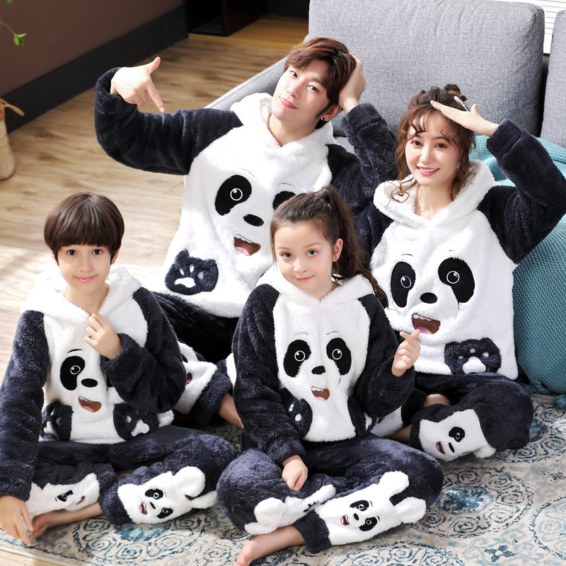 Winter Parent-Child Pajama Set Children's Flannel Pyjamas Thickened Plush Hoodie Long Sleeved Animal Panda Women Men Homewear