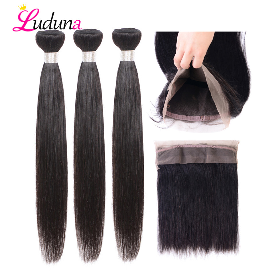 Luduna 360 Lace Frontal With Bundle Brazilian Straight Hair Weave Bundles With Frontal Closure Non Remy Human Hair Extension