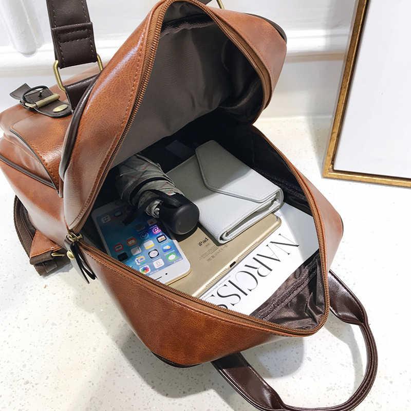 Laamei 2019 Leather Backpack Laptop Anti Theft Brown Bags Men Waterproof Travel Big Back pack Women Designer Mochila Feminina