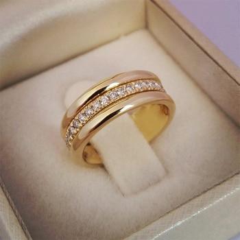 Huitan-Anillo de boda clásico para mujer, sortijas sencillas con pedrería CZ medio...