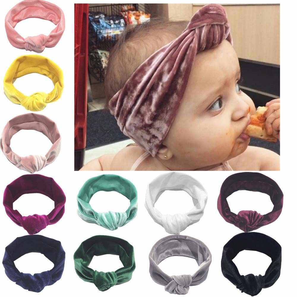 Cute Baby Girl Big Bow Velvet Headband Turban Knotted Ribbon Hair Band Infant Child Accessories Headwear Solid Color Head Wrap