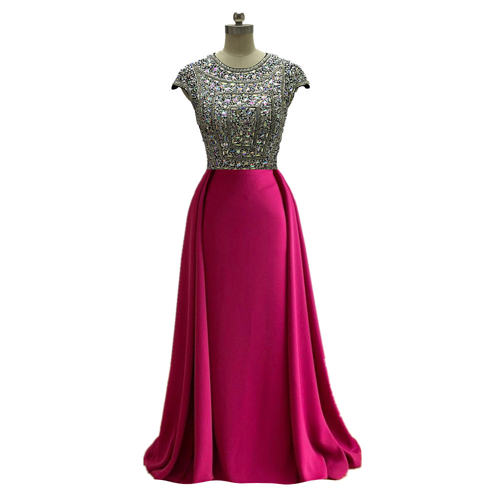 Hot Pink Long Mermaid Prom Dresses Sequins 2020 Detachable Train Short Sleeves Beading Formal Evening Party Gowns Robe De Soiree