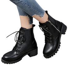 winter fall Women Vintage Leather lace up Cowboy Short Boots Ladies platform Shoes Motorcycle Boots Feminina zapatos de mujer(China)
