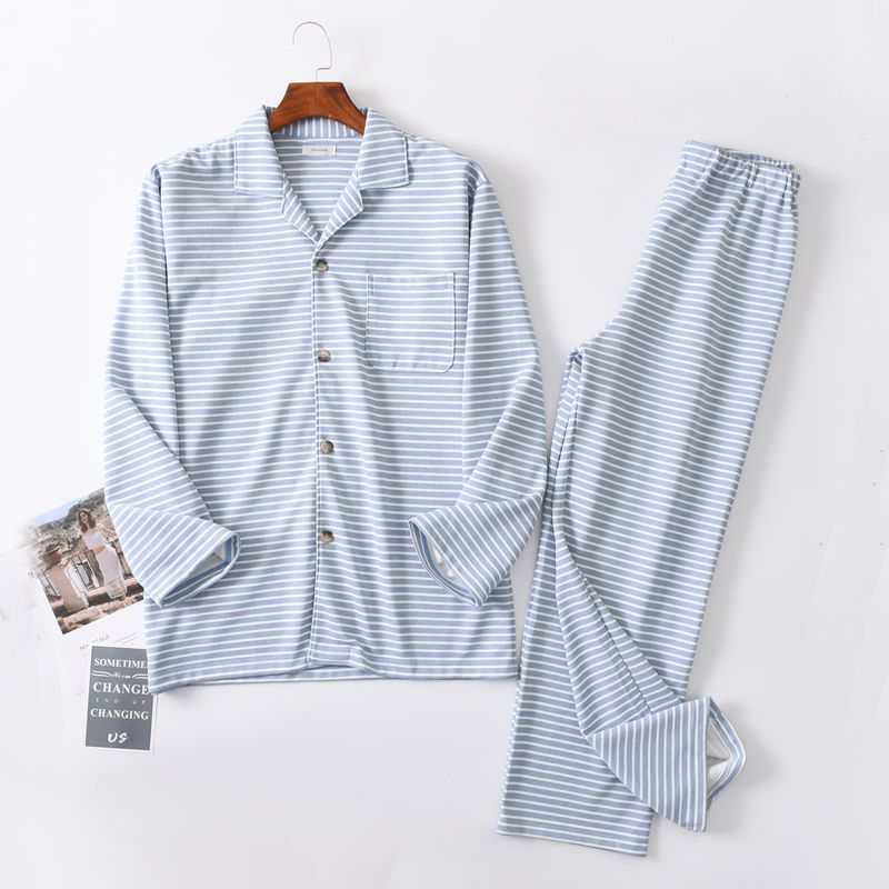 Pajamas for men autumn Long sleeve Cotton sleep Pajama set Cardigan