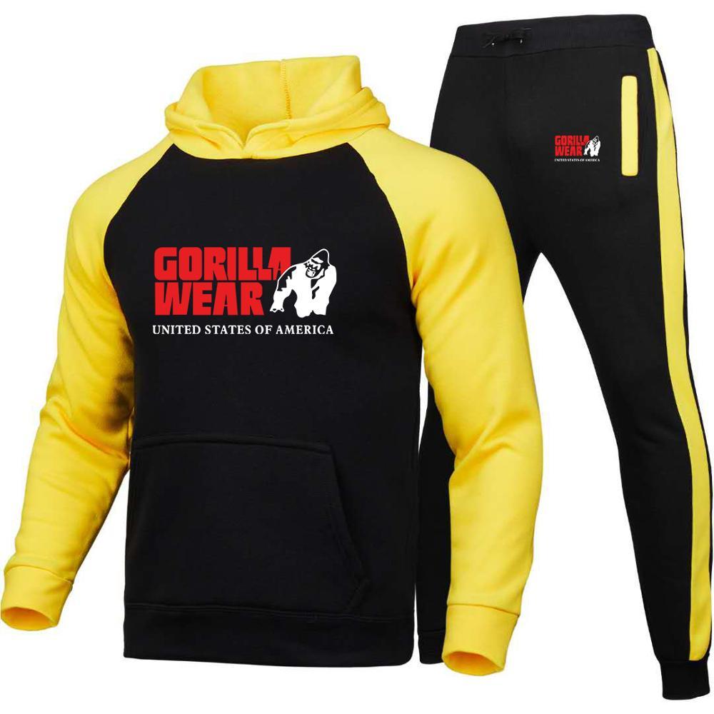 Спортивный костюм мужской из двух предметов, толстовка с капюшоном и штаны, флисовый спортивный комплект
