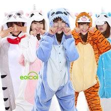 Conjunto de pijamas de panda de flanela dos miúdos pijamas do unicórnio dos animais de kigurumi pijamas das mulheres dos homens adultos