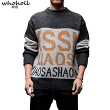 Sweater Men 2019 Letter Print Winter Wool Clothes Knitted Pullover Cashmere Sweaters Male Fashion Jumper High Quality