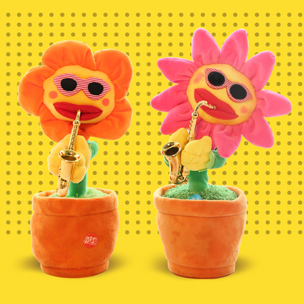 2021 Sunflower Musical Toys Funny Dancing Flower Simulation Playing Saxophone Stuffed Plush Musical Bluetooth Toy