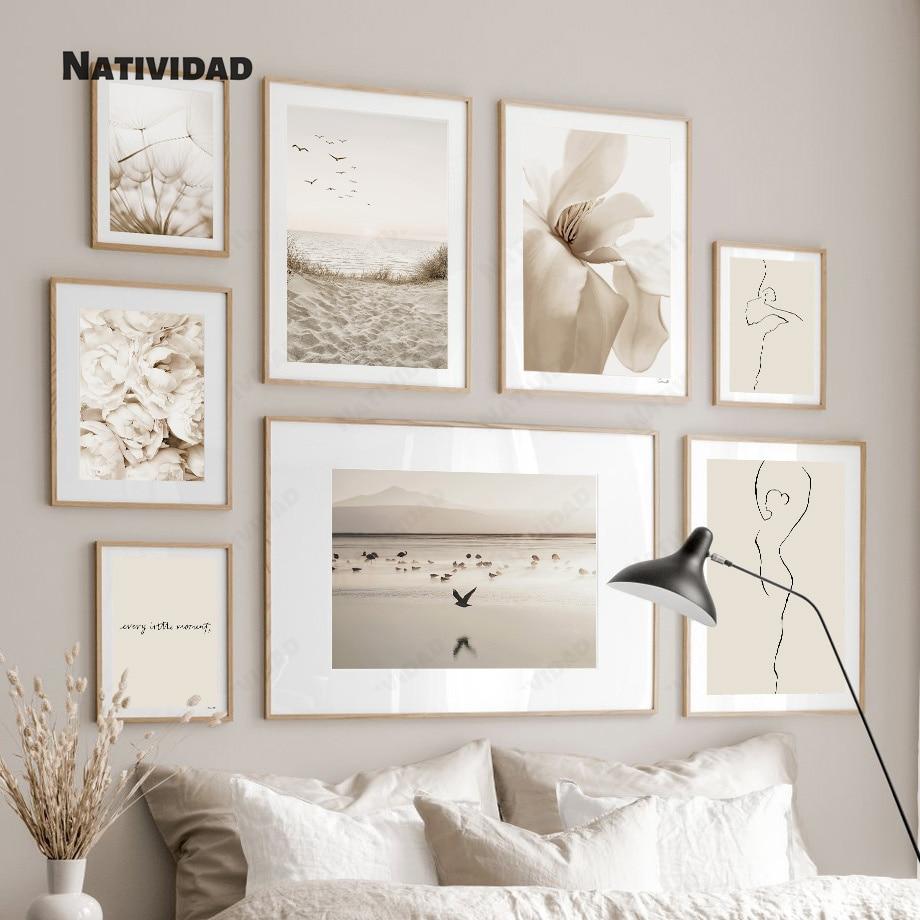 Nordic светильник Цвет, бежевого и белого цветов пейзаж на холсте Современная мода простая картина, печатный плакат изображение гостиной дома...