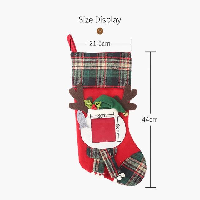 Christmas Stockings Socks Santa Claus Plaid Big Hangingcandy Gift Bag Party Supplies Decoration For Home Pendant Gifts Wholesa 6