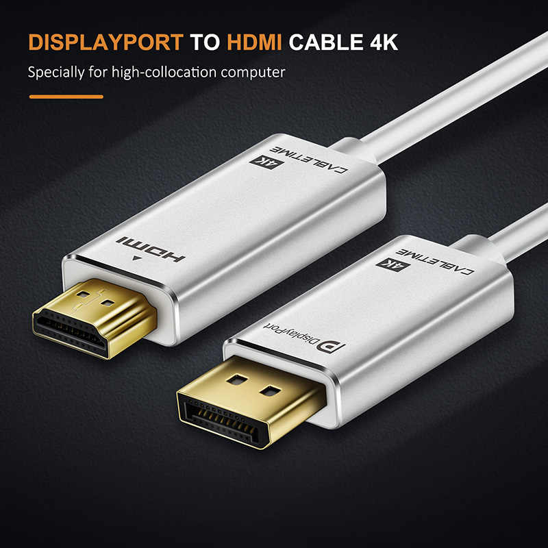 CABLETIME ديسبلايبورت كابل وصلة بينية مُتعددة الوسائط وعالية الوضوح 4K 30Hz DP إلى HDMI DP م/م مطلية بالذهب قبل DP 1.2 ل HDTV العارض كمبيوتر محمول شاشة كمبيوتر شخصي C085