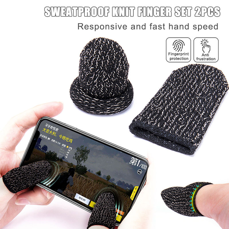 2Pcs Gaming Finger Sleeves Anti-slip Anti-sweat Protection for Phone Games Controller Finger Sensitive Breathable Mobile Touch