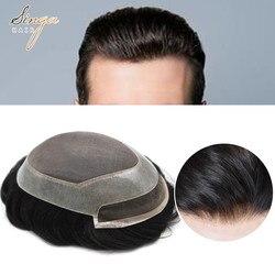 Mono fino claro poli em torno de homens peruca de cabelo humano toda a mão amarrado luz médio densidade preto cabelo substituição sistema P2-3-8