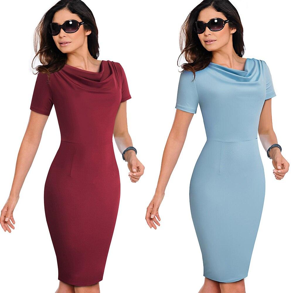 Nice-forever Women Vintage Wear to Work Elegant vestidos Business Party Bodycon Sheath  Office Ruffle Female Dress B452