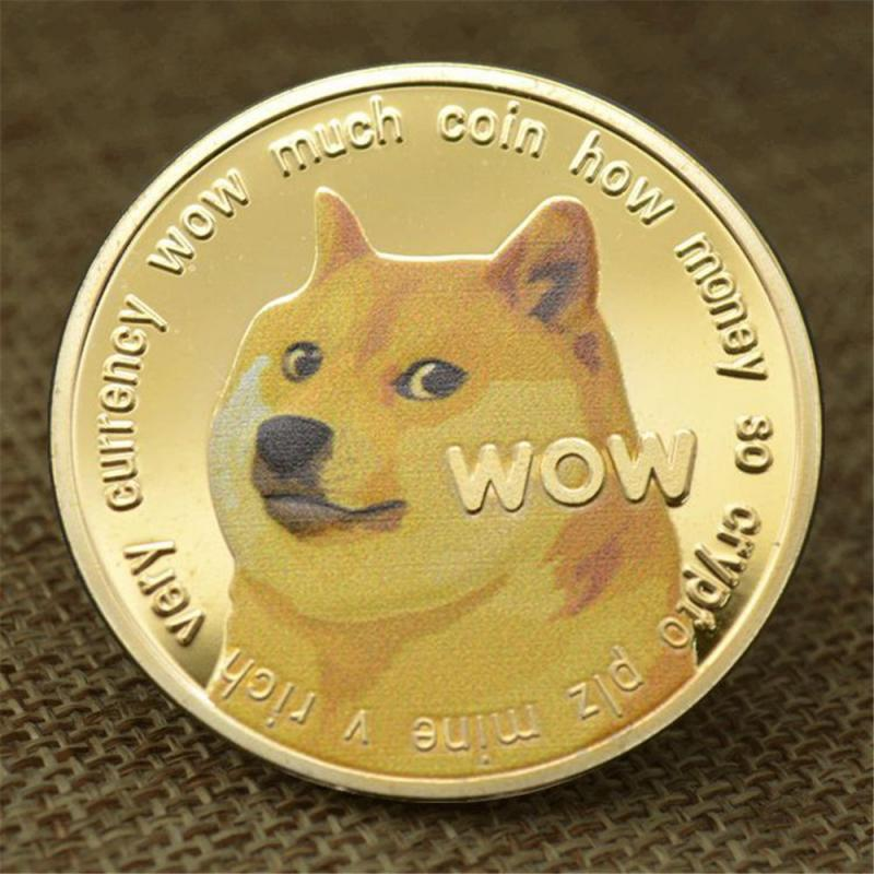 1 Piece Gold/Silver Plated Ethereum Ripple Bitcoin Dogecoin Binance Digital Currency Dog Year Commemorative Coins Ornaments 2