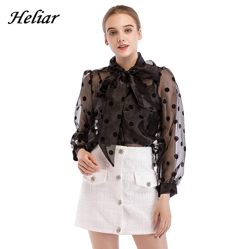 HELIAR Black Polka Dot Blouse Women Transparent Sexy Long Sleeves Autumn Spring Streetwear White Organza Blouses Tops Women