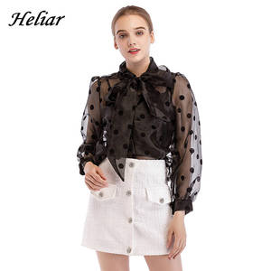HELIAR Black Polka Dot Blouse Women Transparent Sexy Long Sleeves Autumn Spring Streetwear White Organza Blouses Tops Women