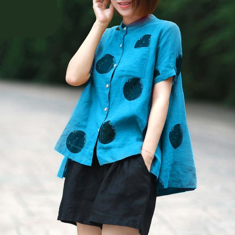 Women Fashion Elegant Casual Look Shirt Female Tops Cute Polka Dot Print Weekend Blouse Summer Single Breasted Shirt and Blouse 9