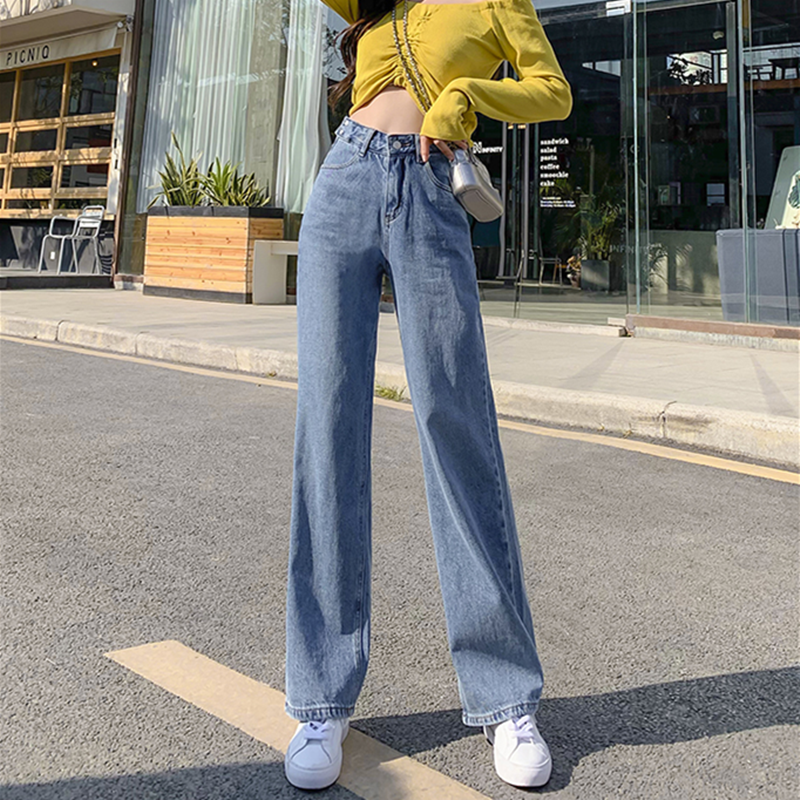 Woman Jeans High Waist Clothes Wide Leg Denim Clothing Blue Streetwear Vintage Quality 2020 Fashion Harajuku Straight Pants