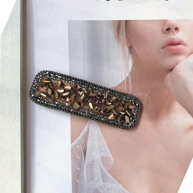 Купить с кэшбэком 8 Colors Optional Square Crystal Hairclip Simple Elegant Adult Side Clip Bb Hairpin Top Clip Bangs Barrette Styling Tools