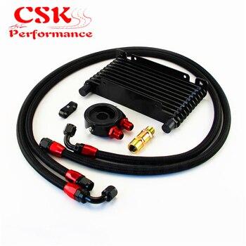 Universal 10 Row AN8 Oil Cooler 260x133x32mm + Filter Adapter Hose End Kit Black