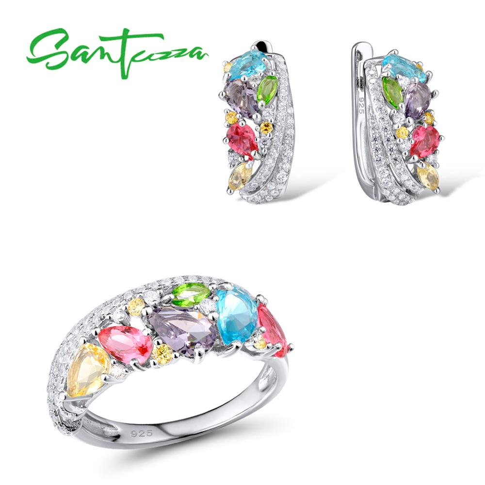 SANTUZZA Silver Jewelry Sets For Women Mutil-Color Stones White CZ Earrings Ring Set 925 Sterling Silver Fashion Jewelry Set