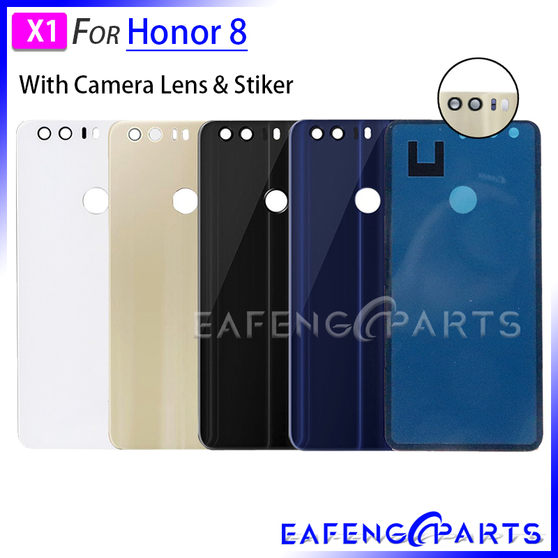 Battery Back Cover For Huawei Honor 8 Housing Battery Door Back Cover Glass Rear Panel With Camera Lens Replacement