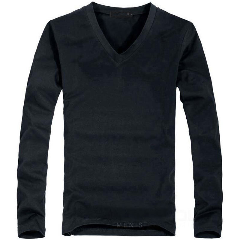 Elastic Mens T-Shirt V-Neck Long Sleeve Men T Shirt For Male Lycra And Cotton T-Shirts Man Clothing TShirt 2