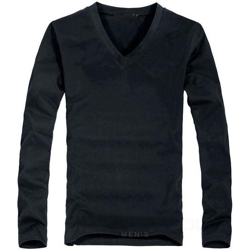 2020 Elastic Mens T-Shirt V-Neck Long Sleeve Men T Shirt For Male Lycra And Cotton T-Shirts Man Clothing TShirt Brand Tees 2