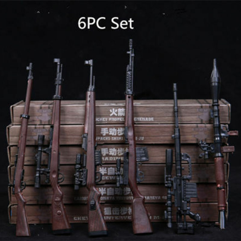 6pcs Set Gun Toy 1/6 Scale Accessories RPG M14 Automatic Rifle Assembly Weapon Model F Figure CN Collection GIFT Figure Model To
