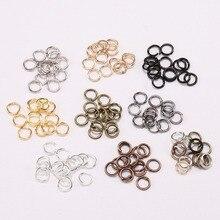 200 шт./лот, золотые, серебряные петли, 4, 5, 6, 8, 10 мм, открытые кольца для рукоделия, изготовления ювелирных изделий, ожерелья, браслетов, фурнитура, соединительные принадлежности